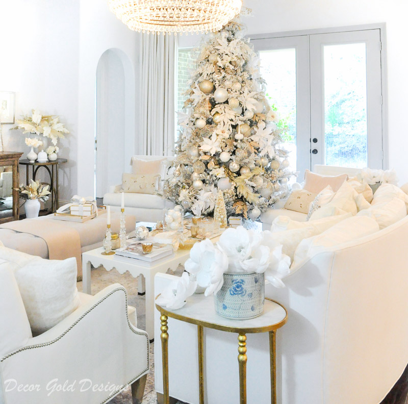 Decorated Christmas living room white decor