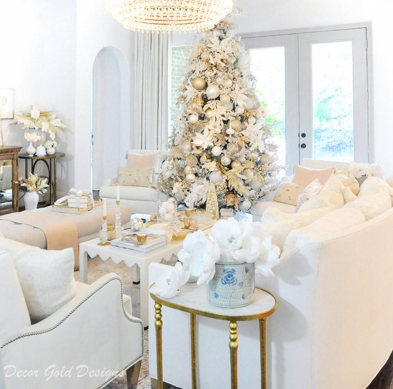 Bright White Christmas Living Room
