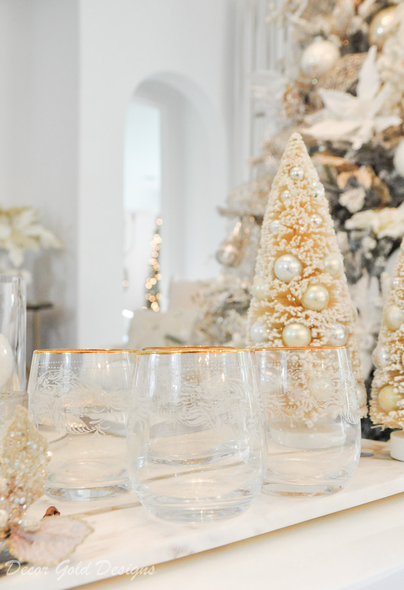 Gold rimmed stemless wine glasses Christmas living room decor