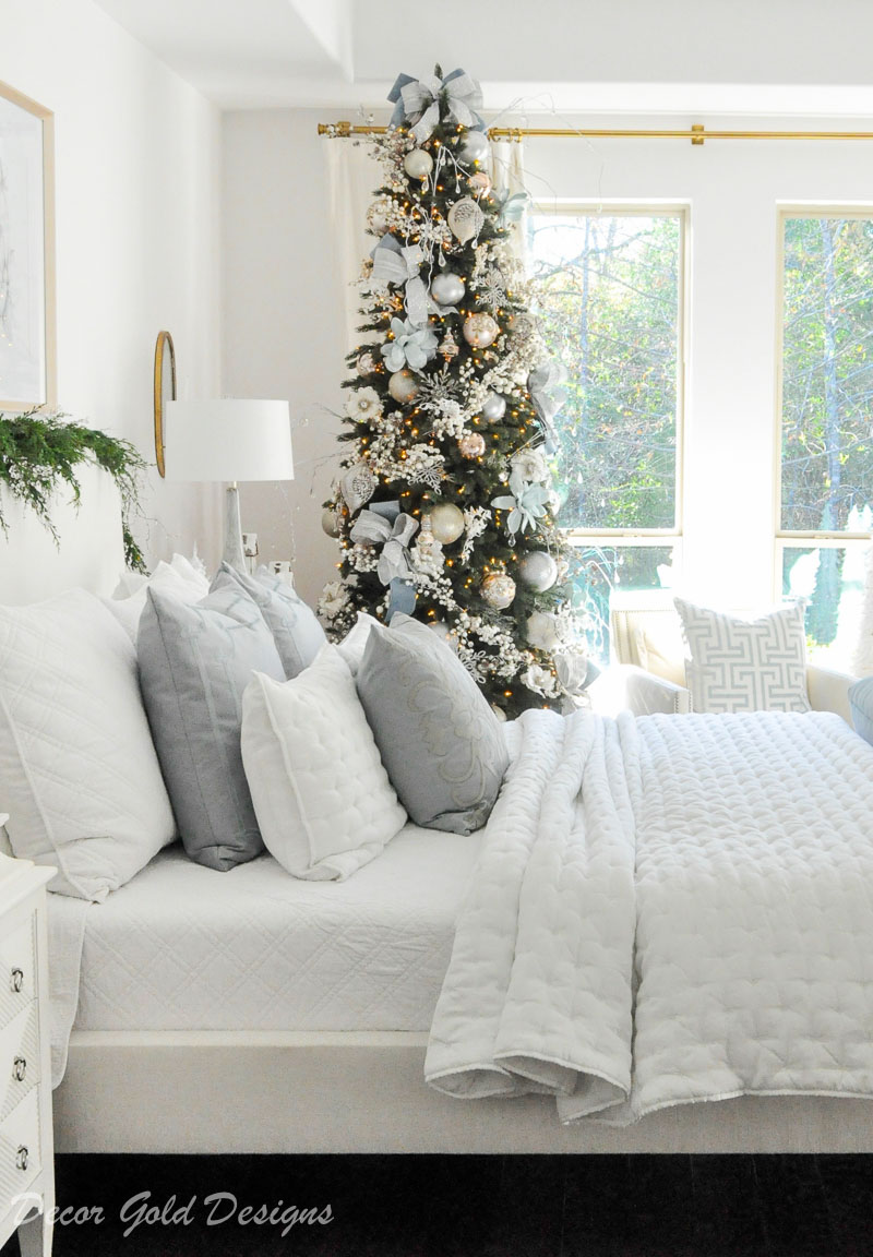 Beautiful white Christmas bedroom elegant decorated tree