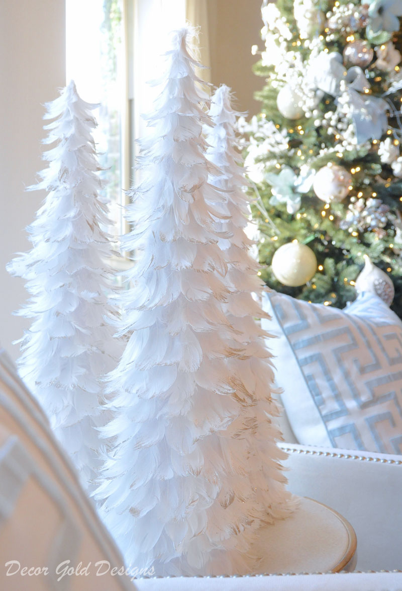 Christmas bedroom beautiful feather trees