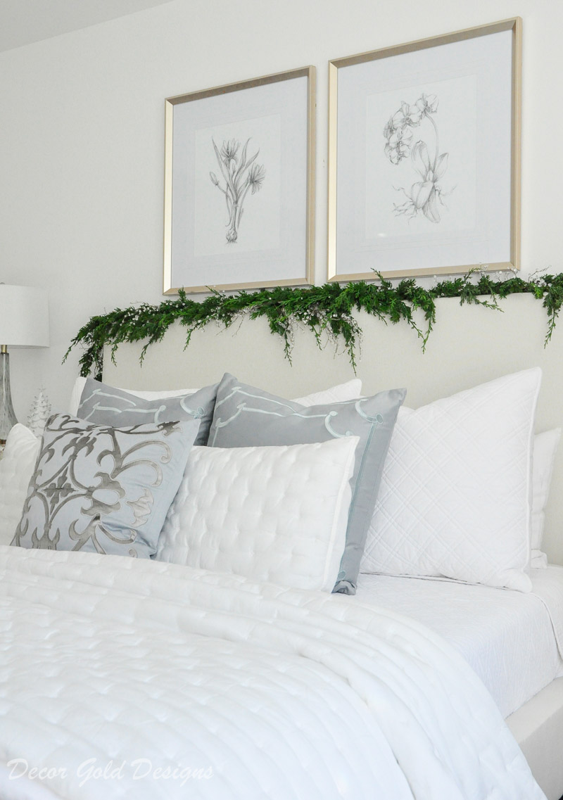 Christmas bedroom white bedding beautiful faux garland