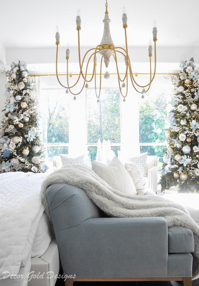 Beautiful Christmas bedroom two decorated trees