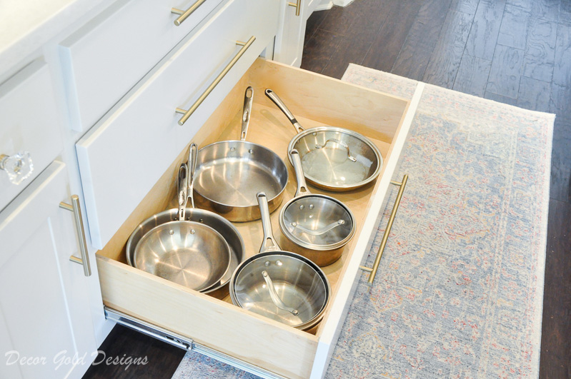Kitchen organization project drawer pots pans