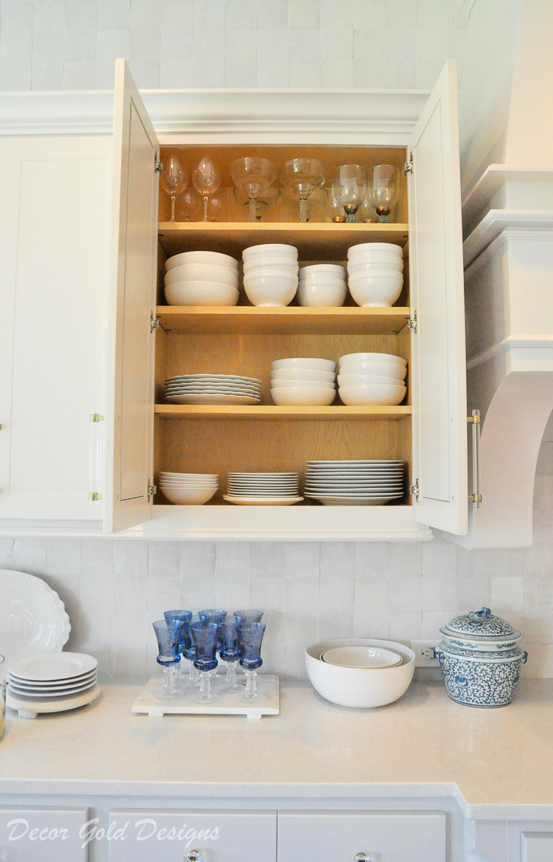 Kitchen organization project upper cabinet everyday dinnerware glassware