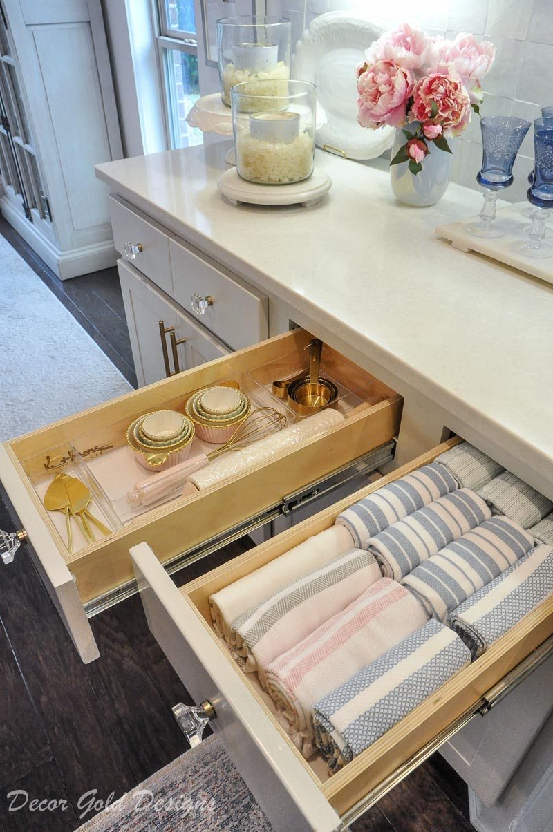 Kitchen organization project dishtowel drawer