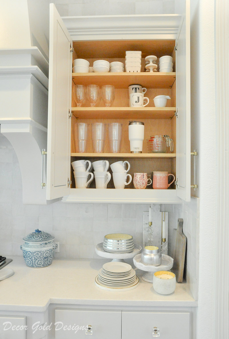 Kitchen organization project upper cabinet everyday cups mugs
