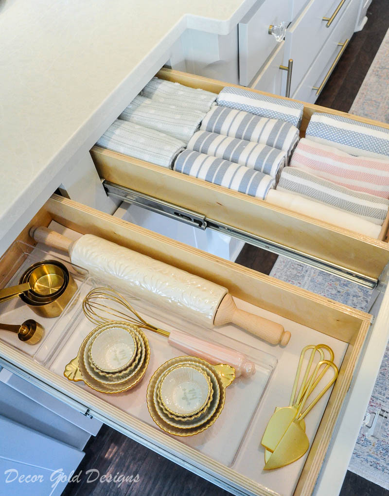 Kitchen organization project cooking drawers dishtowels baking items