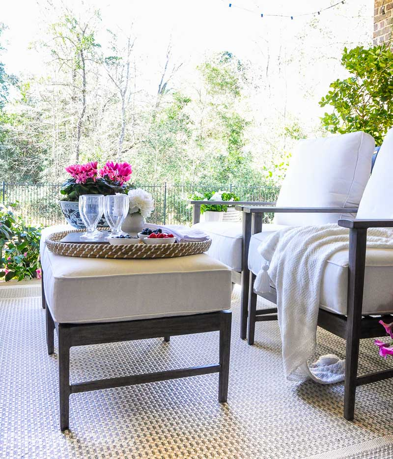 Spring ready patio featuring beautiful furnishings
