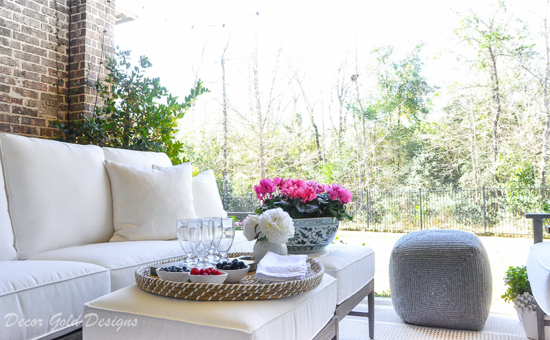 Spring ready patio gray pouf