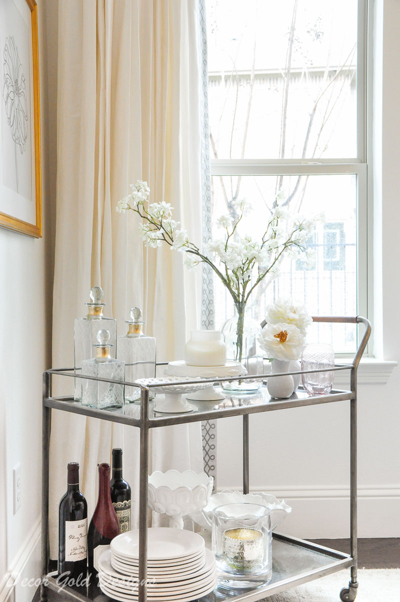 Winter home tour cozy inviting home dining room bar cart