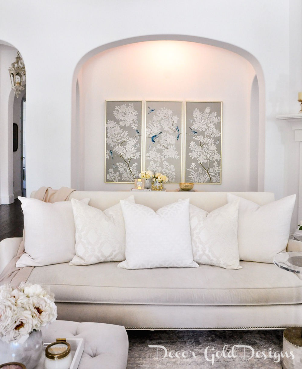Spring home tour cozy white sofa