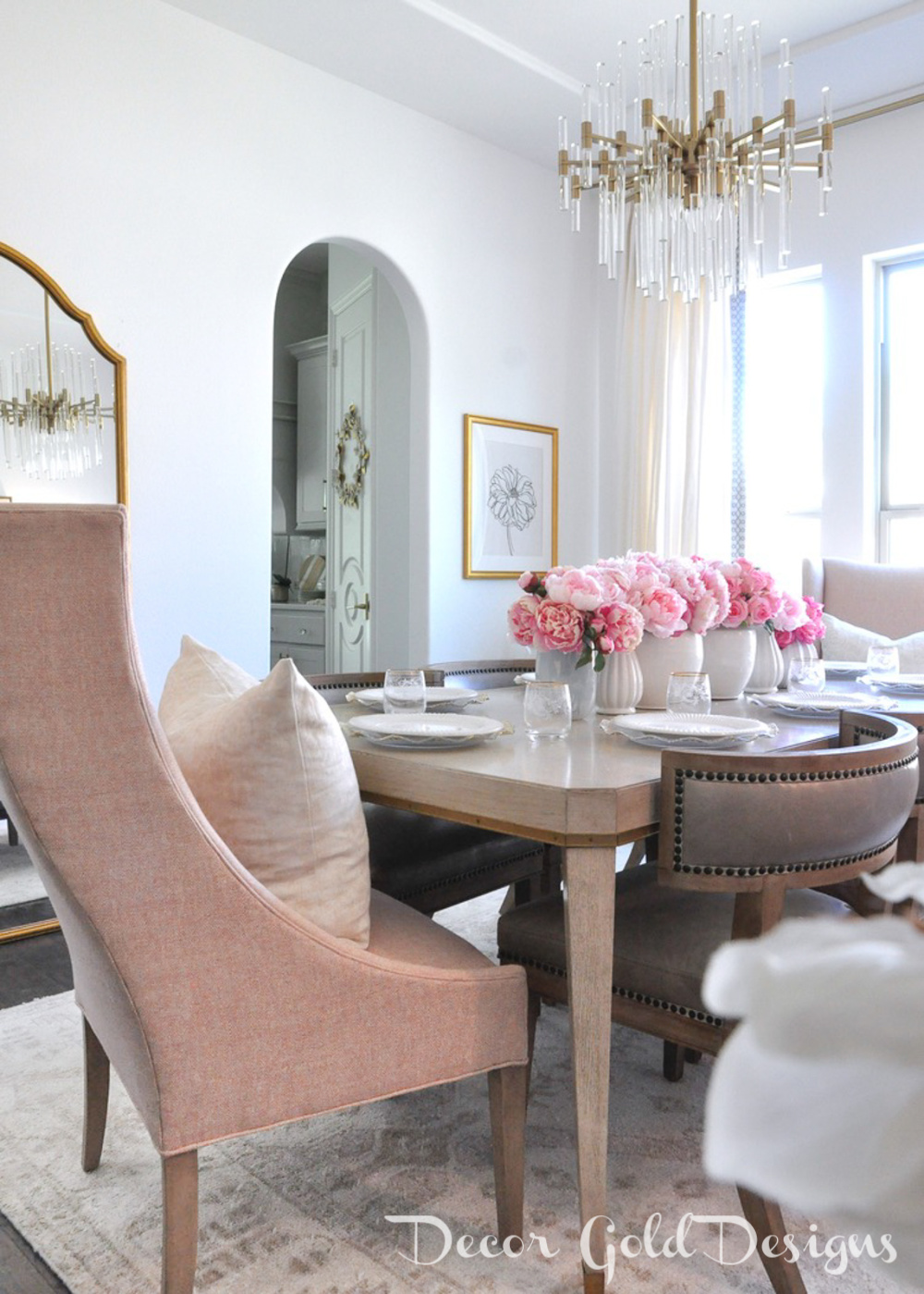 Spring home tour beautiful dining room elegant table blush end chair