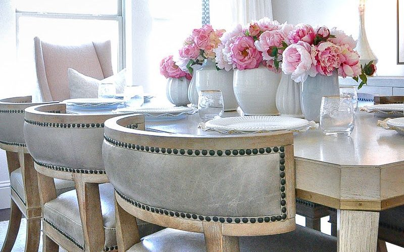 Spring home tour faux pink peonies centerpiece