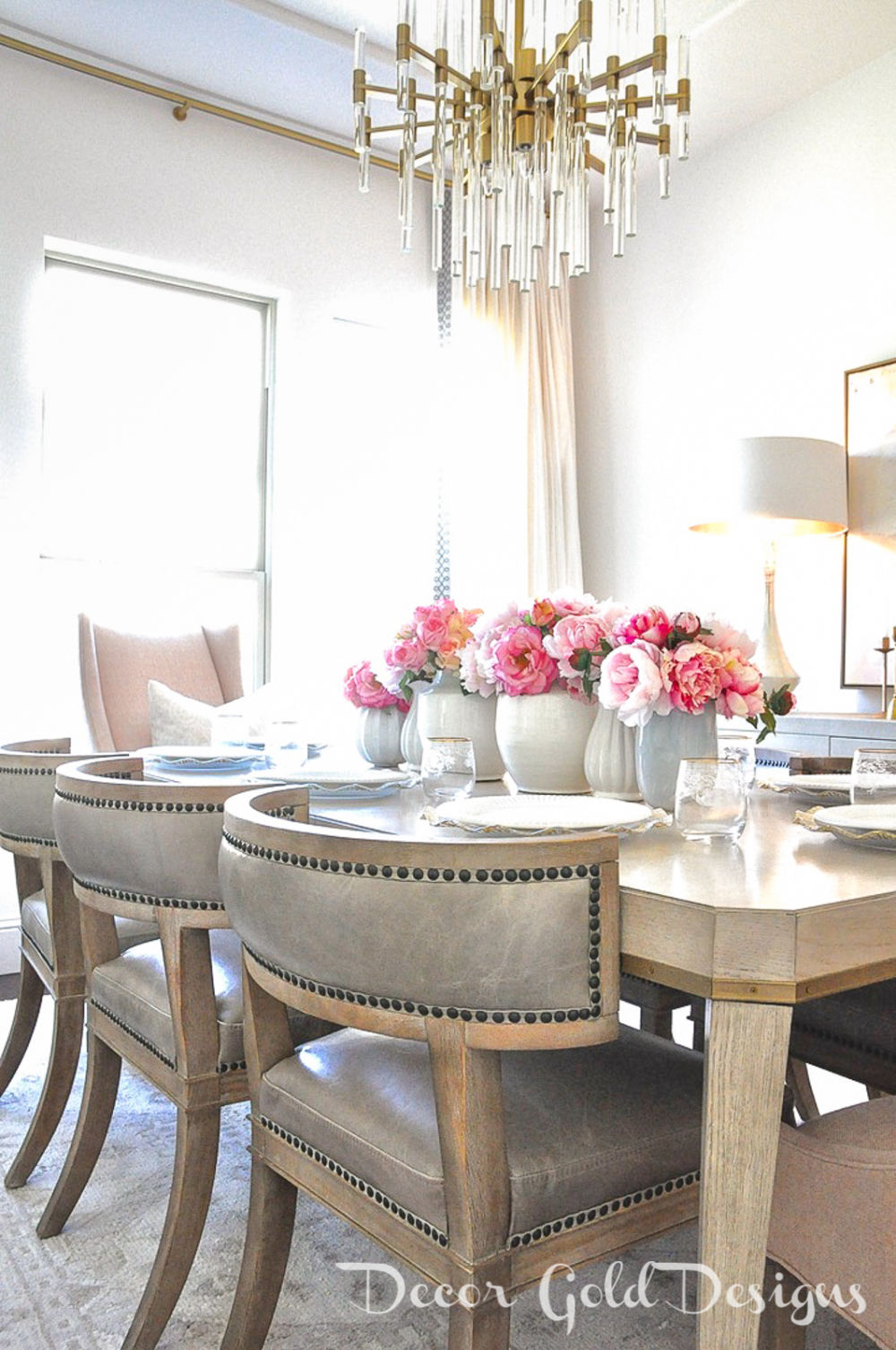 Spring home tour dining room faux pink peonies centerpiece