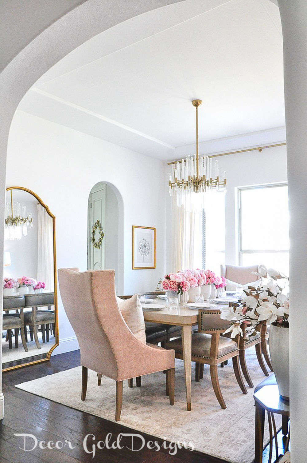 Spring home tour beautiful dining room blush end chair