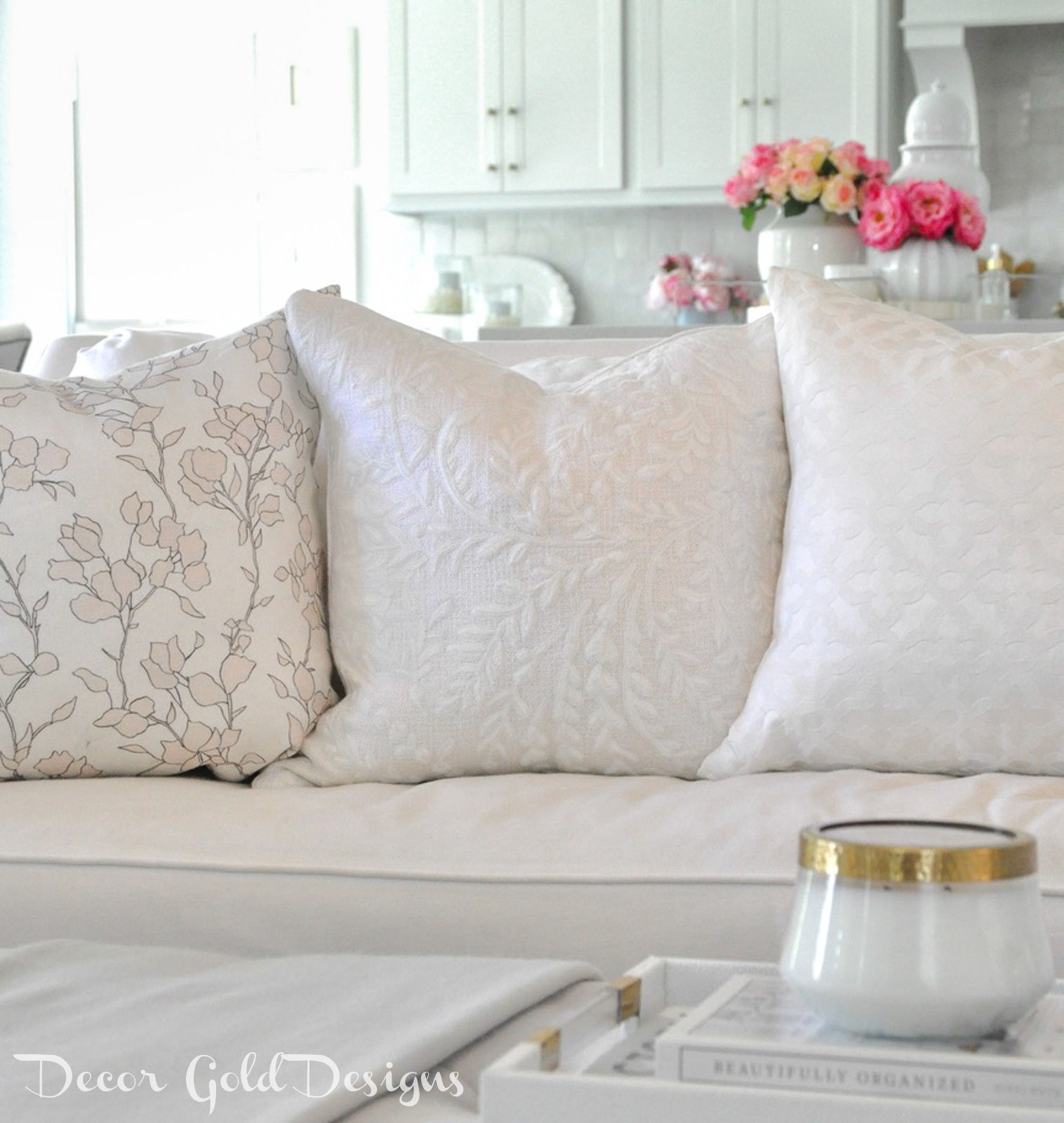 Spring home tour pretty sofa pillows