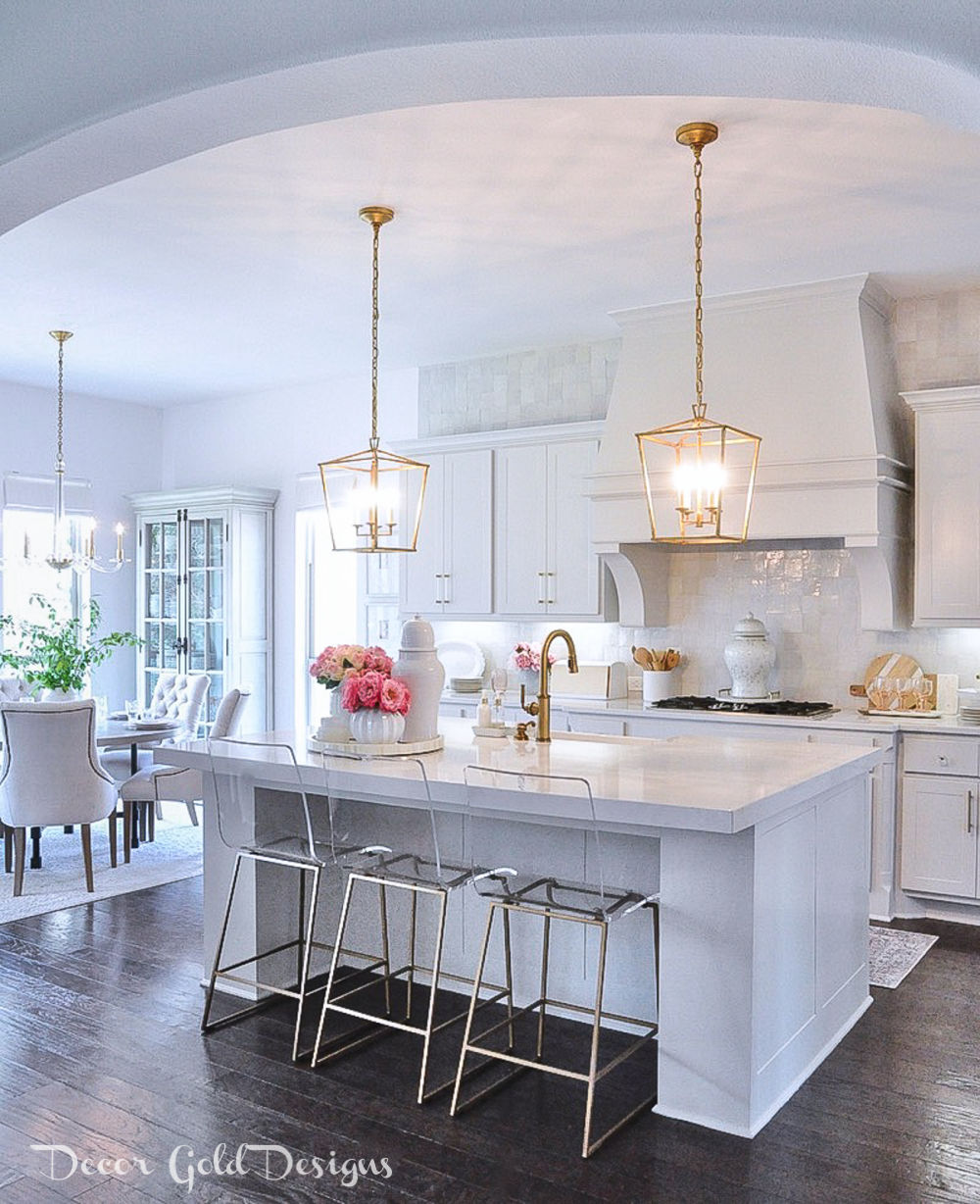 Spring home tour bright white kitchen gold accents