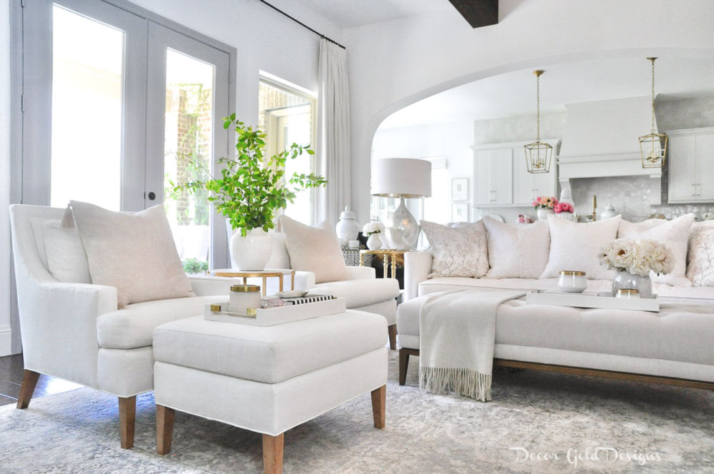Spring home tour living room white furnishings