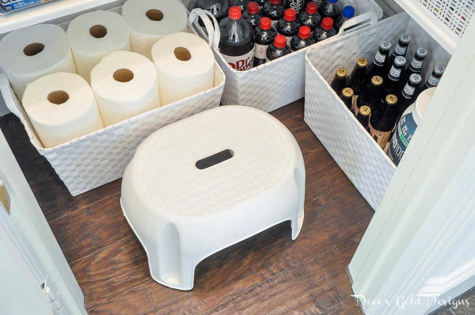 Organized pantry floor baskets