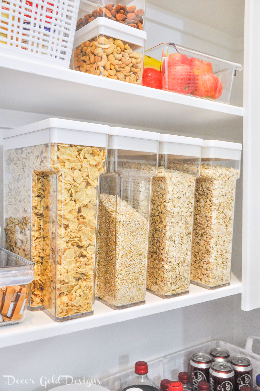 Organized pantry cereal containers