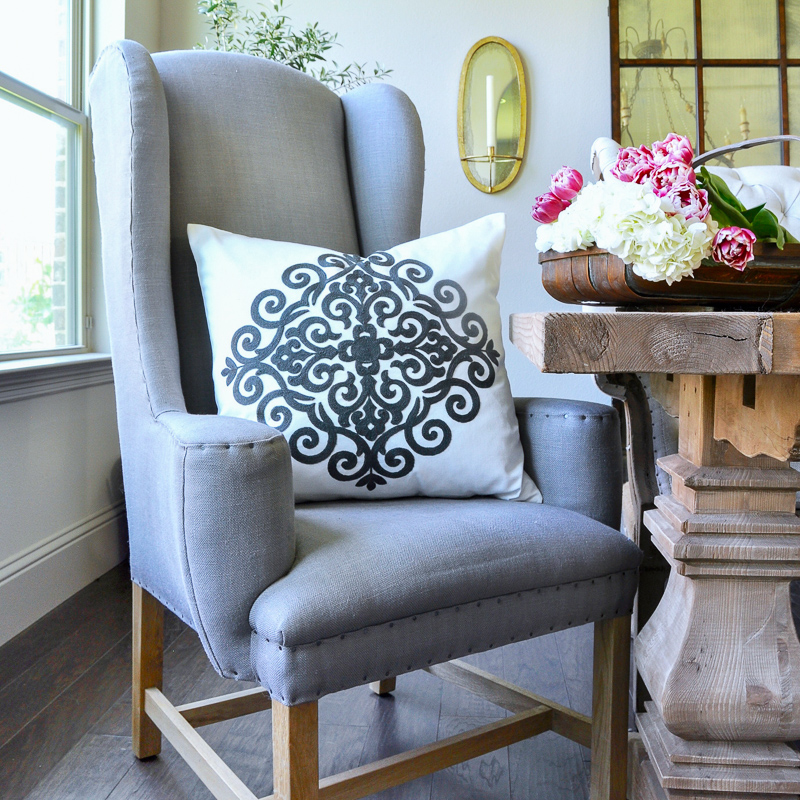 Furnishings sale including Restoration Hardware wingback dining chairs gray
