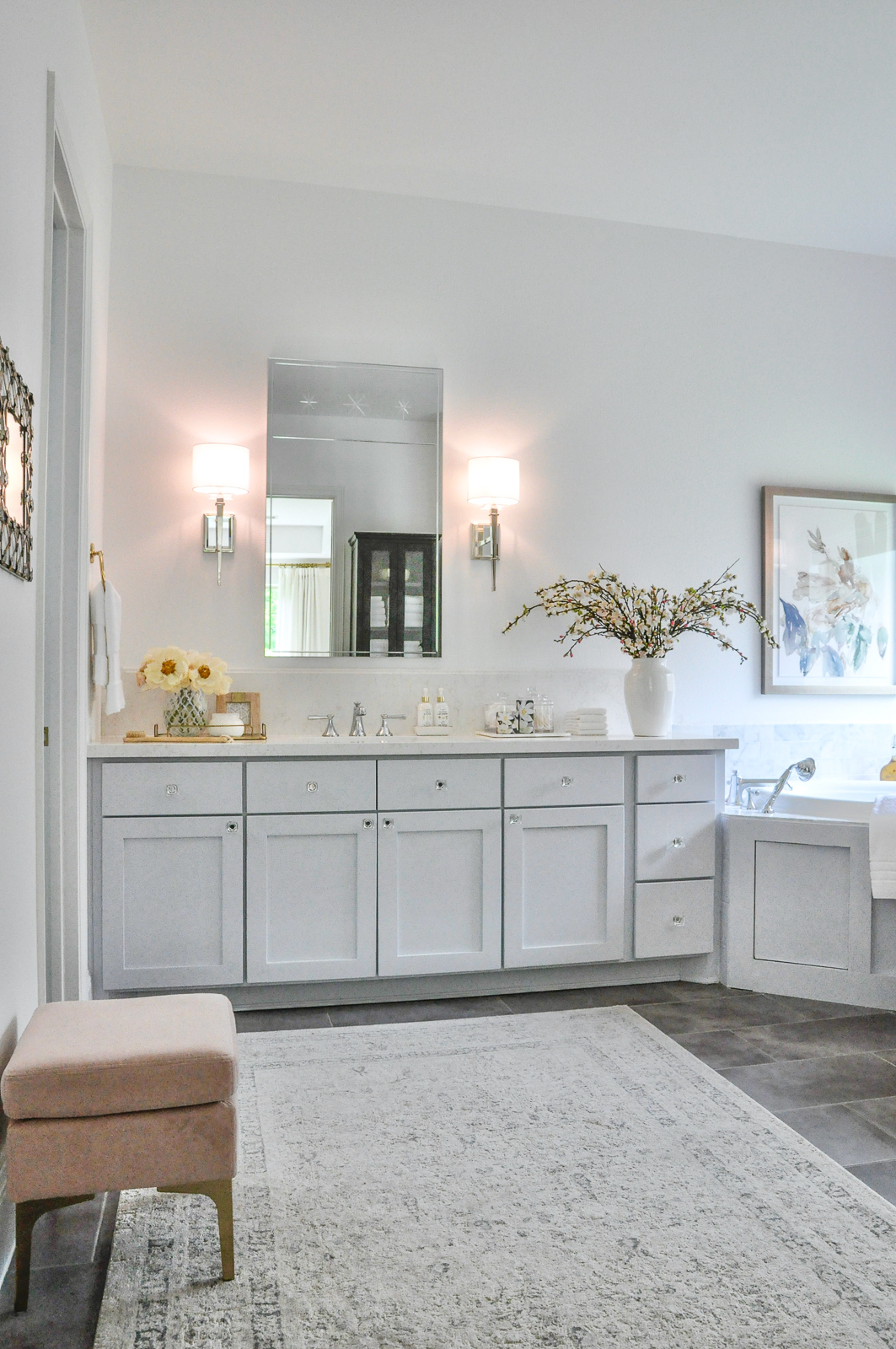 Master bathroom with a bright and beautiful new look. This reveal shows every angle and detail!