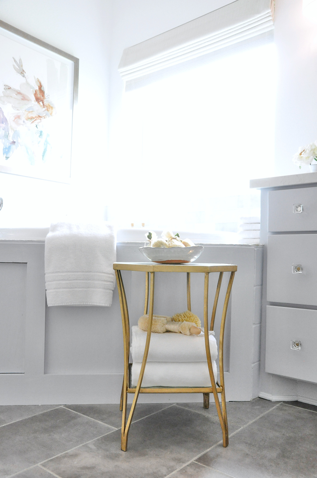 Master bathroom gold table tub