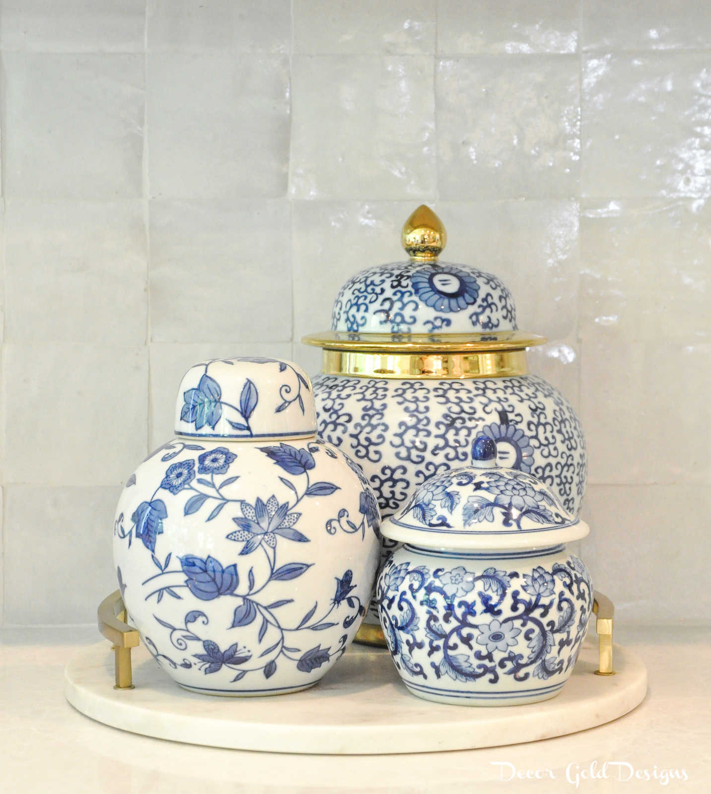 Summer home tour blue white ginger jars