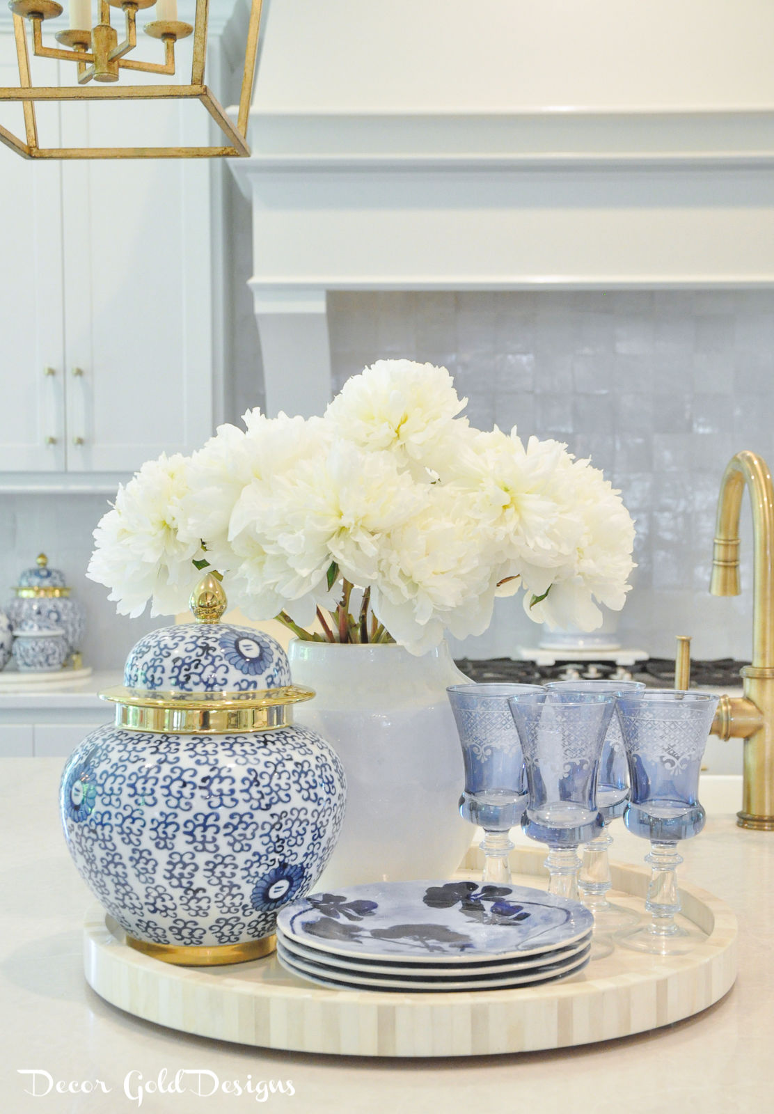 Summer home tour blue white decor