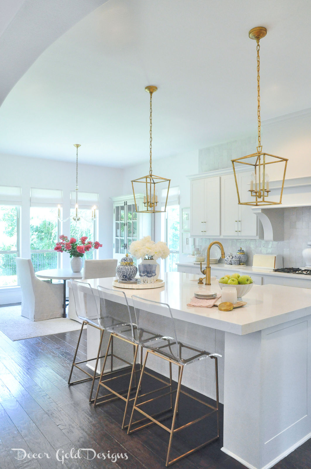 Summer home tour kitchen blue white decor