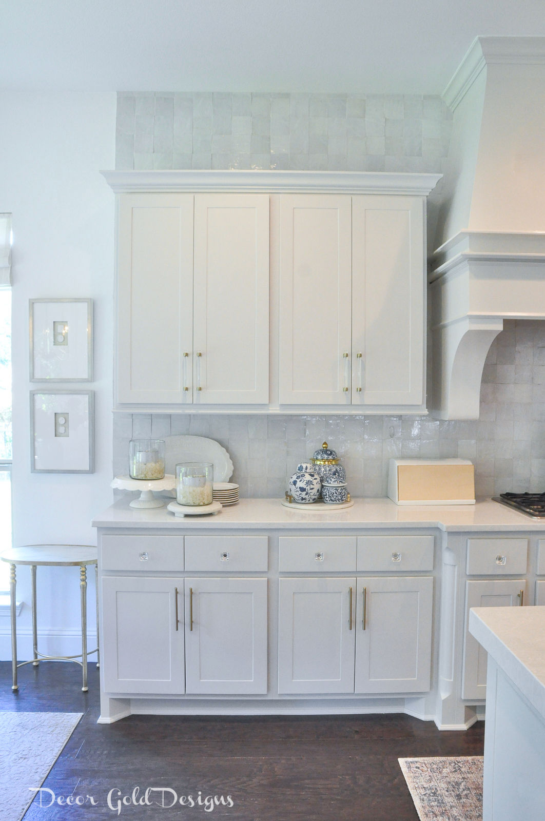 Summer home tour white kitchen blue white decor
