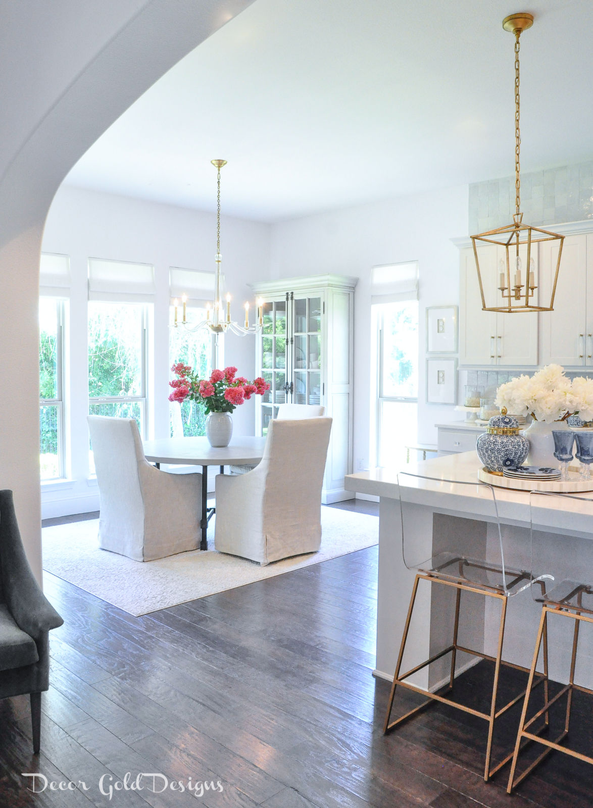Summer home tour bright white kitchen breakfast nook