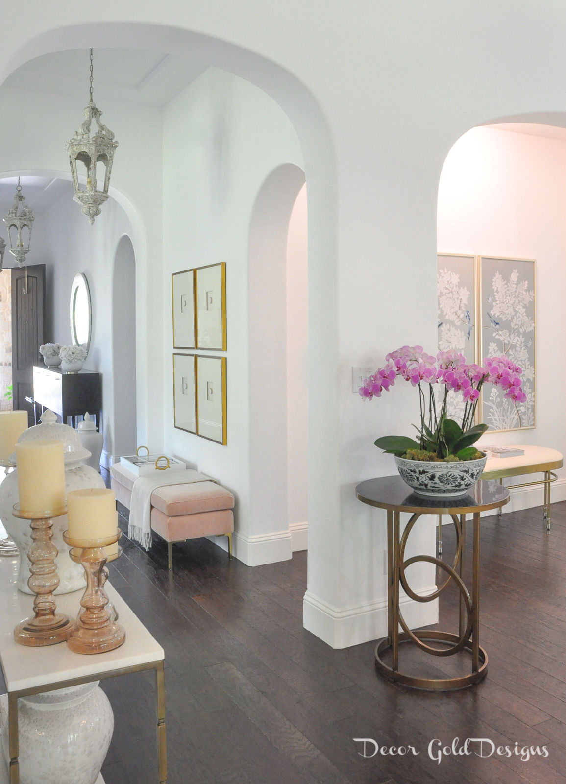 Summer home tour entryway decorated orchids candles
