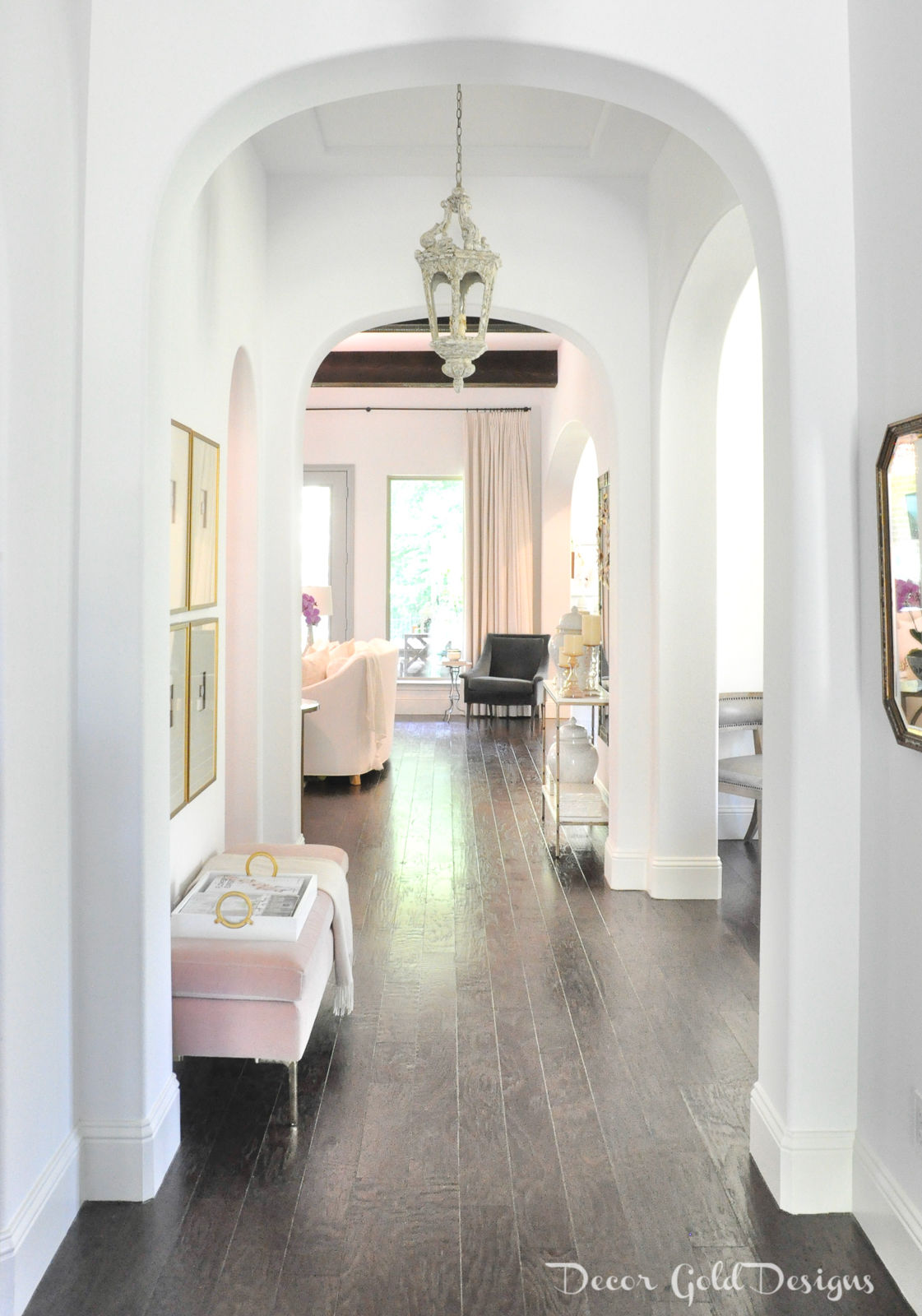 Summer home tour entryway decorated blush