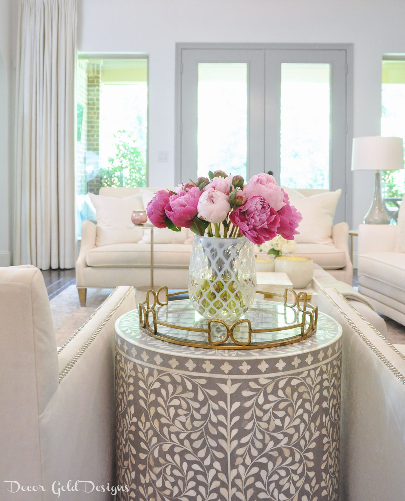 Summer home tour living room decor blush bright pink