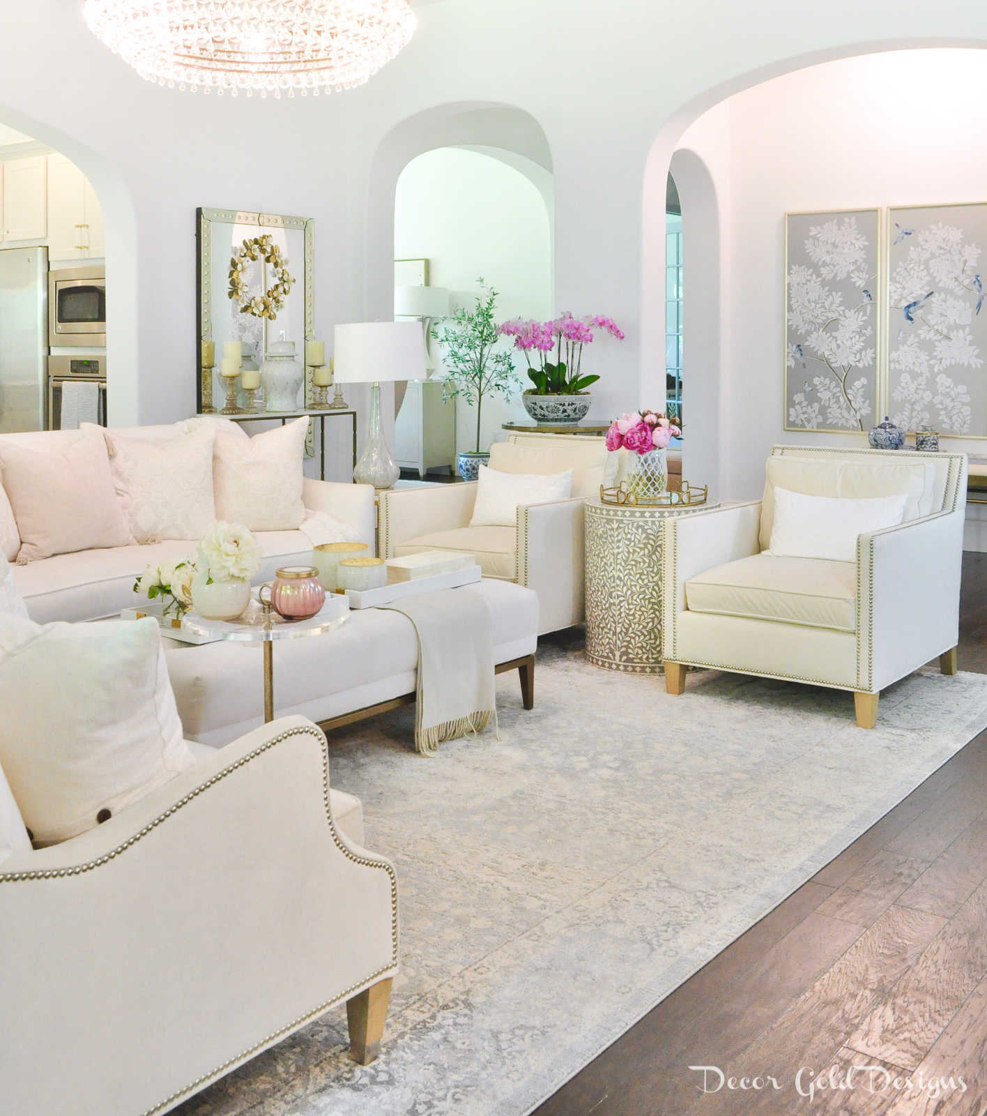 Summer home tour living room decor soft blush bright pink
