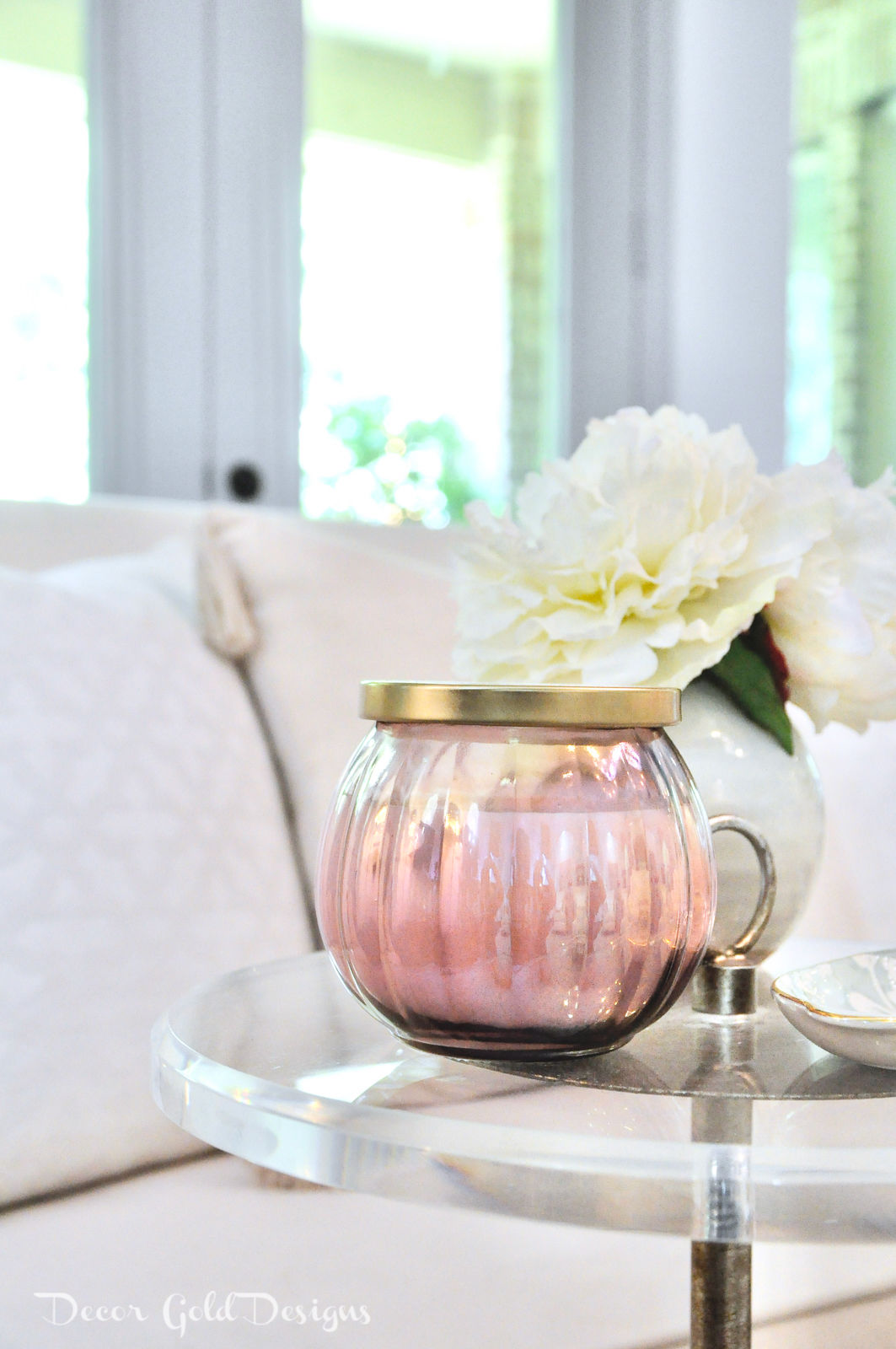 Summer home tour living room decor blush candle