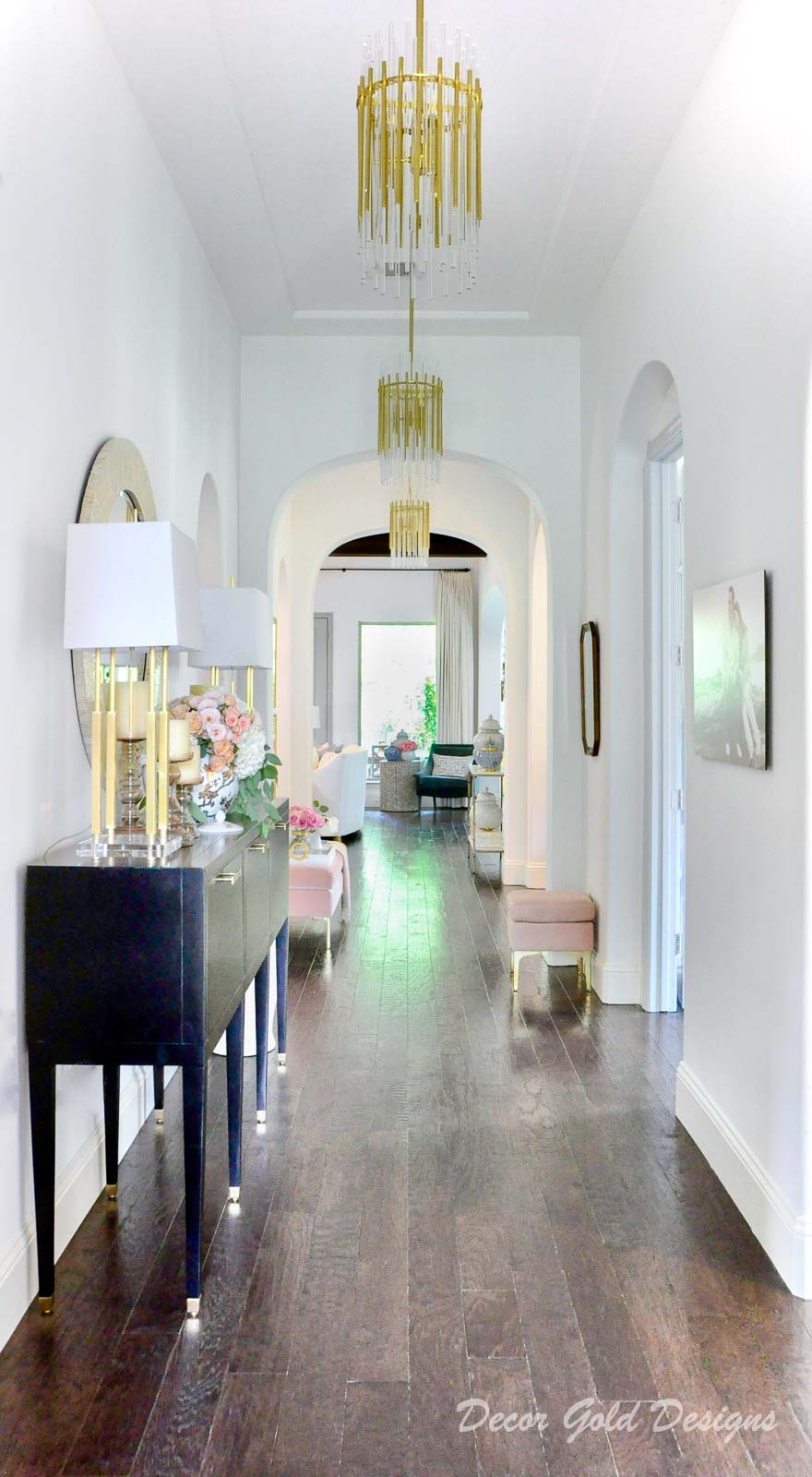 Entryway update pendant lights console gold lamps