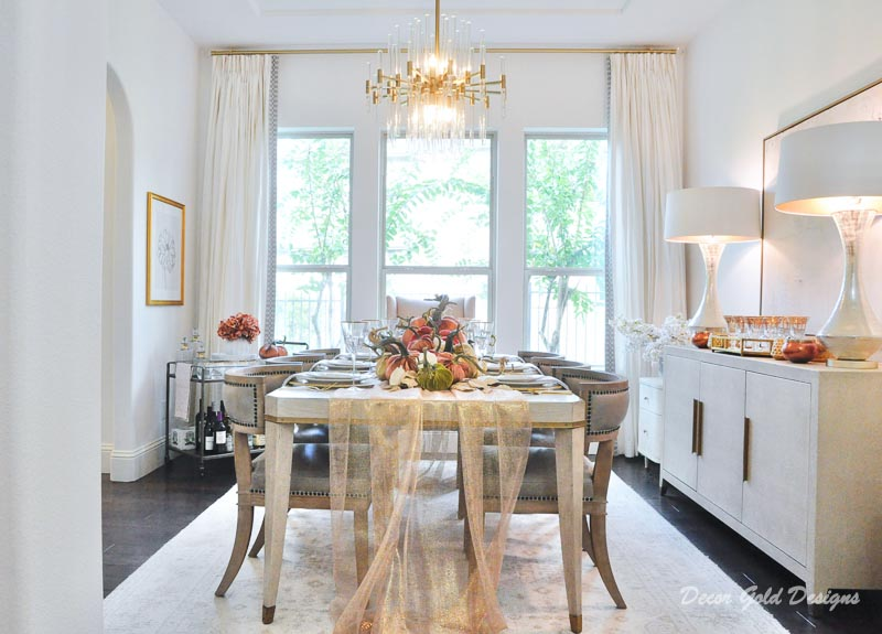 Elegant fall home decorating transitional dining room