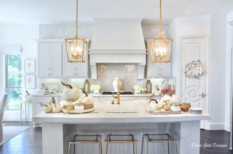 Fall kitchen white gold velvet pumpkins home tour