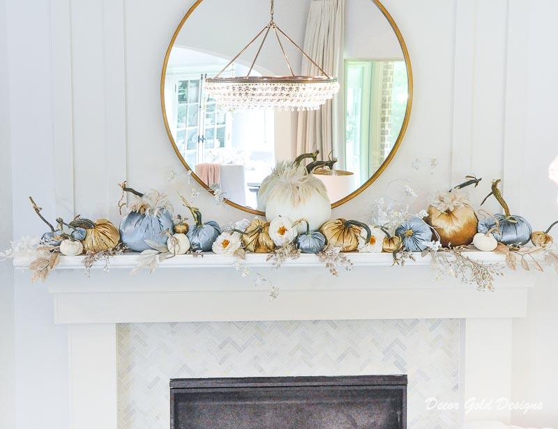 Fall home tour mantel velvet pumpkins