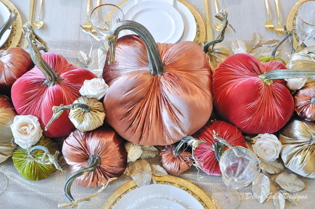 Elegant fall home decorating ideas tour velvet pumpkin tablescape gorgeous