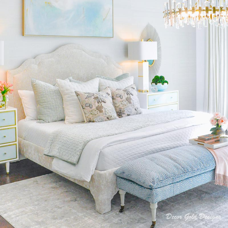Southern glam master bedroom reveal upholstered bed