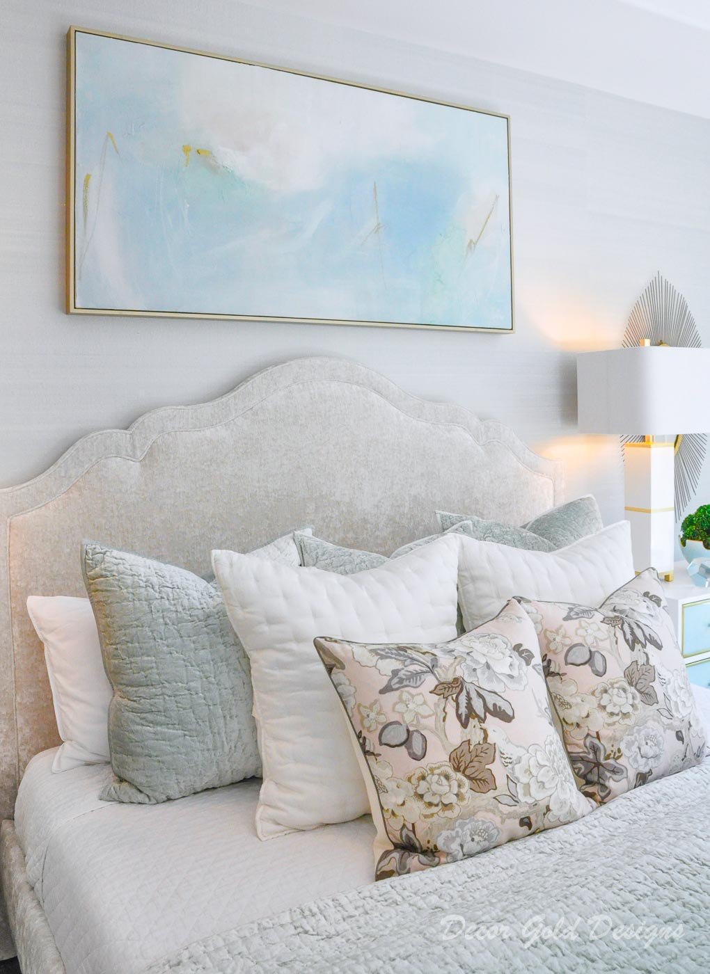 Southern glam master bedroom reveal gorgeous abstract pastel art