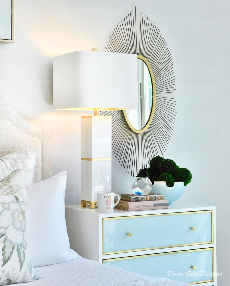 Southern glam master bedroom reveal beautiful white sea foam green nightstands
