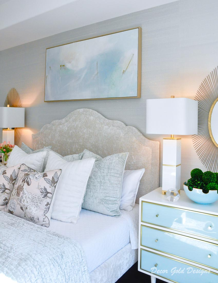 Southern glam master bedroom reveal silk wallpaper
