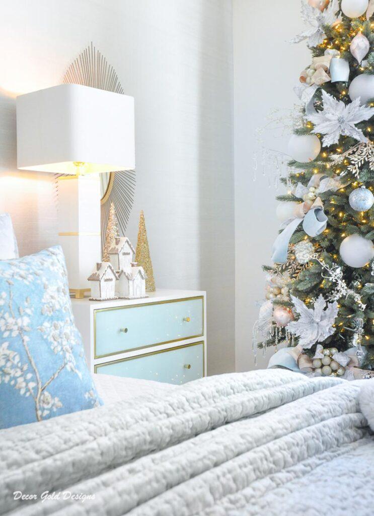 Christmas bedroom white mint green nightstand