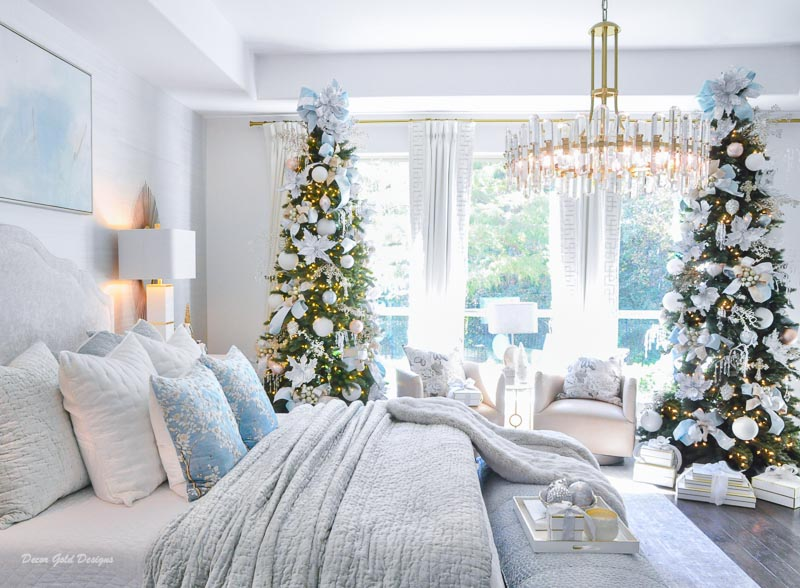 Christmas bedroom pastels two beautiful trees