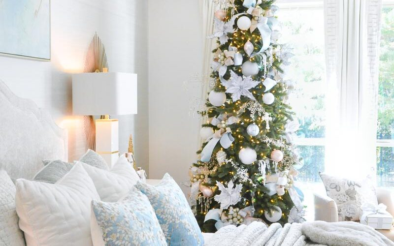 Christmas bedroom pastels decorated tree